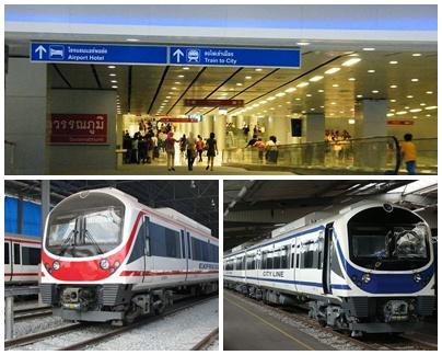 Penunjuk Jalan Menuju Stasiun ARL (Atas), Express Line (Kiri), City Line (Kanan)