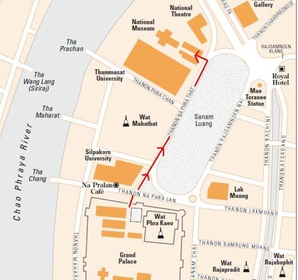 Rute Jalan Kaki dari Grand Palace ke National Museum Bangkok (Sumber Peta : Rough Guide)