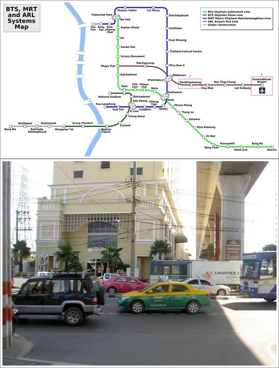 Peta Jalur Kereta ARL Menuju Stasiun Ramkhamkhaeng (Atas), Nasa Vegas Hotel  dari Stasiun Ramkhamkhaeng (Bawah)