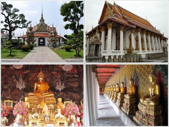 Pintu Gerbang (Kiri Atas), Ordination Hall (Kanan Atas), Patung Buddha Dalam Ordination Hall (Kiri Bawah), The Cloister (Kanan Bawah)