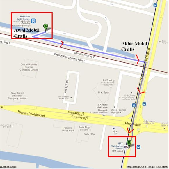 Peta Jalan Kaki Dari Stasiun Makassan ke Stasiun Phetchaburi (Sumber : Google Map dengan modifikasi sendiri)