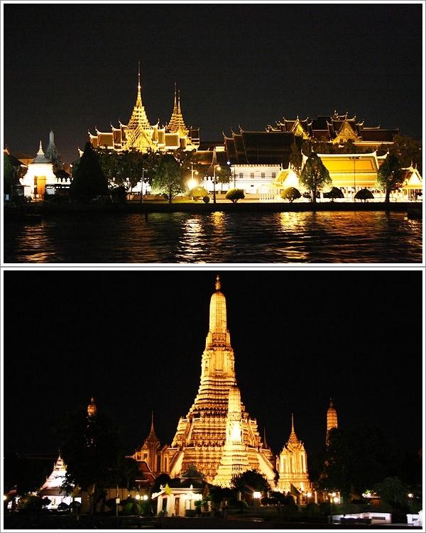 Grand Palace dan Wat Arun di Waktu Malam