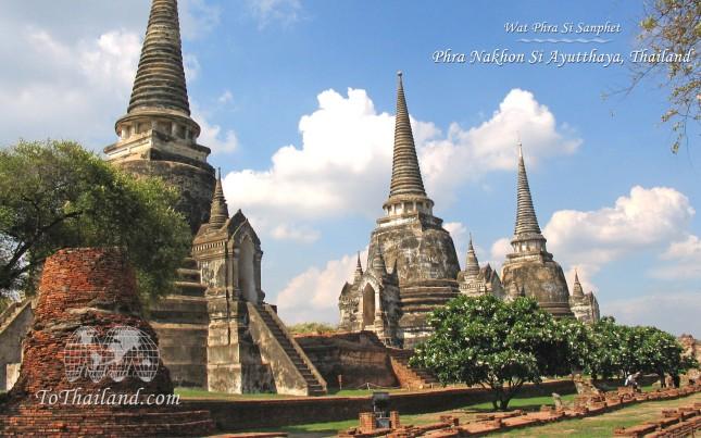 Ketiga Chedi di Wat Phra Si Sanphet (Photo By : ToThailand.com)