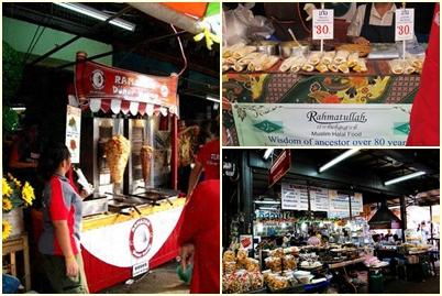 Kios Makanan Halal di Chatuchak Weekend Market. Ramazan Doner Kebab (Kiri), Rahmatullah (Kanan Atas), Saman Islam (Kanan Bawah)