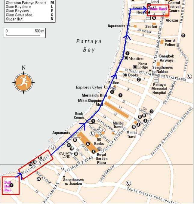 Garis biru adalah rute jalan kaki dari Bali Hai Pier ke Tune Hotel Pattaya (Sumber Peta : Rough Guide dengan modifikasi sendiri)