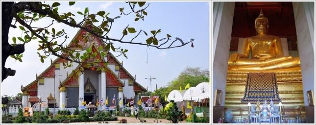 Bagian Depan Viharn Phra Mongkol Bopit dan Patung Budha Di Dalamnya