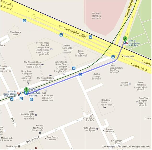Rute Jalan Kaki dari Stasiun MRT Silom ke Stasiun BTS Skytrain Sala Daeng