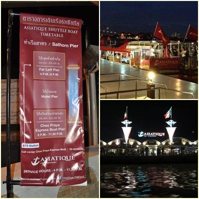 Banner Penunjuk Boat Asiatique (Kiri), Free Boat Asiatique (Kanan Atas) dan Asiatique dilihat dari Chao Phraya River (Kanan Bawah)