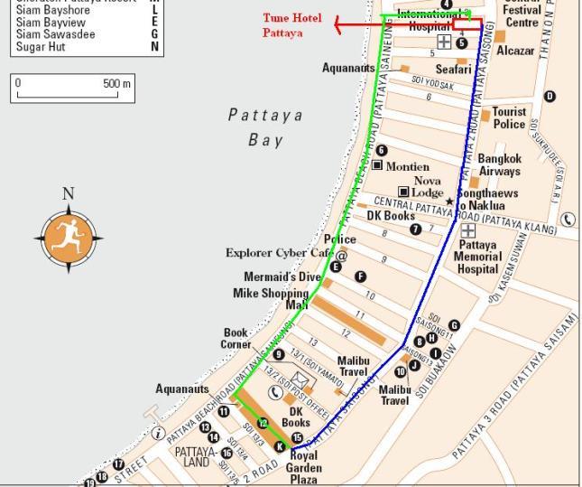 Garis Hijau adalah Rute Jalan Kaki dan Garis Biru adalah Rute naik Baht Bus (Peta : Rough Guide dengan modifikasi sendiri)