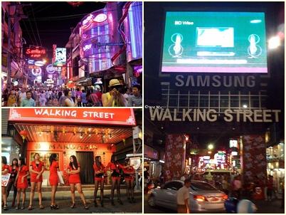 Suasana Malam Hari di Walking Street Pattaya
