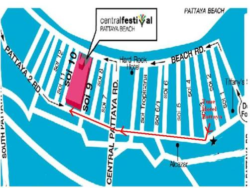 Peta Jalan Kaki Dari Tune Hotel Pattaya ke Mall Central Festivals Pattaya Beach