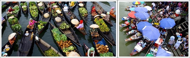 Pasar Terapung di Banjarmasin (Kiri) dan Amphawa Floating Market (Kanan)