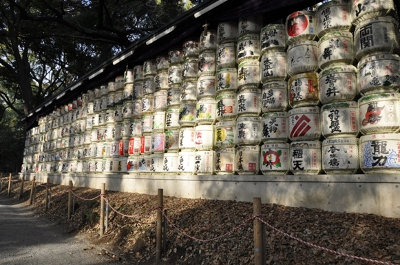 Jajaran Tong Sake di Meiji Shrine