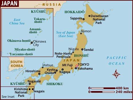 Peta Jepang (Sumber : www.lonelyplanet.com)