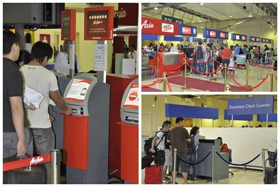 Kiosk Check-In (Kiri), Baggage Drop (Kanan Atas), Document Check Counter (Kanan Bawah)
