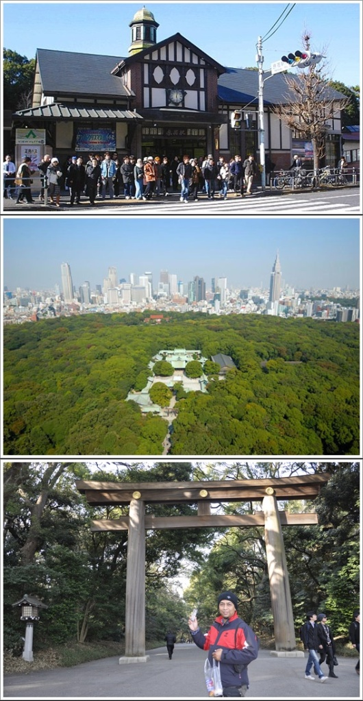 Harajuku Station (Atas), Meiji Shrine Dilihat Dari Udara (Tengah, Photo By : meijijingu.org), Torii Gate Meiji (Bawah)