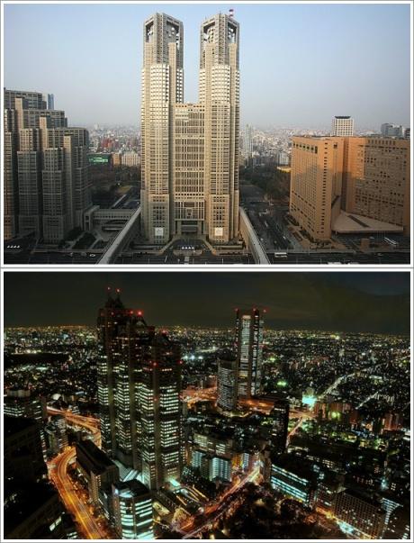 Bagian Depan TMG (Atas, Photo By : Japanguide.com), Pemandangan Dari Dalam Observation Decknya (Bawah)