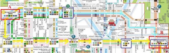Peta Bis Dari Kinkakuji Menuju Ginkakuji. Garis Kuning Rute Bis No102, Garis Biru Bis No.204