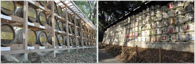 Jajaran Barel Anggur dan Sake Di Meiji Shrine