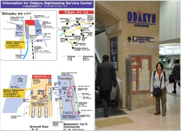 Peta Kantor Odakyu Sightseeing Service Centre (Kiri) dan Petunjuk Arah Ke Kantornya (Kanan)