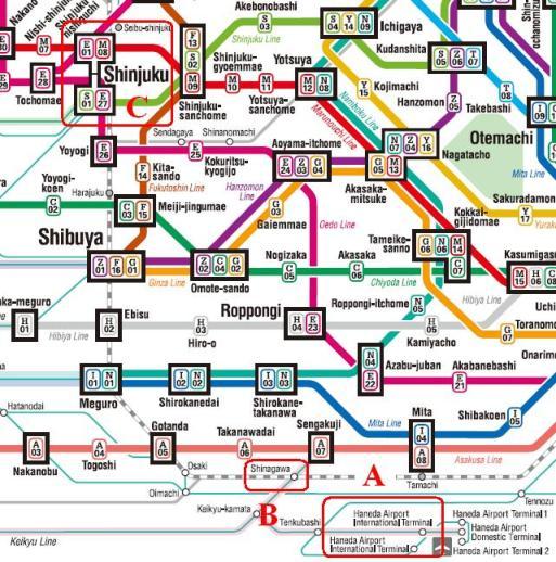 Rute Kereta Dari Airport Haneda ke Shinjuku Station (A) Haneda (B) Shinagawa (C) Shinjuku
