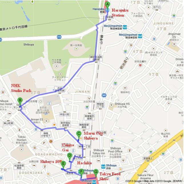 Peta Walking Tour Shibuya (Sumber : googlemap)