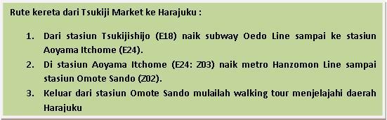 Tsukiji to Harajuku