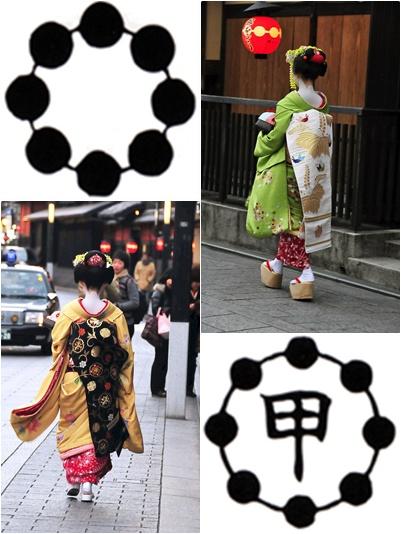Simbol Gion Higashi (Kiri Atas), Simbo Gion Kobu (Kanan Bawah), Dua Foto Maiko Yabg Ditangkap Dengan Sempurna Oleh Traveling-Foodies.com