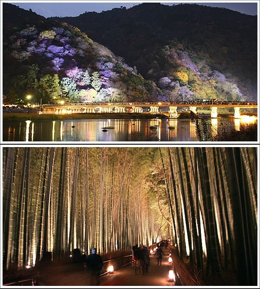 Togetsukyo Bridge (Atas) dan Bamboo Groves (Bawah) pada perayaan Hanatoro (Photo By : japan-guide.com)