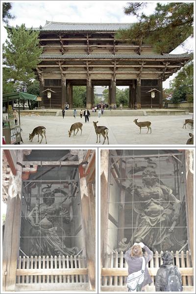 Nandaimon Gate di Todaiji dengan Dua Nionya (Atas) Misshaku Kongo (Kiri Bawah), Naraen Kongo (Kanan Bawah)