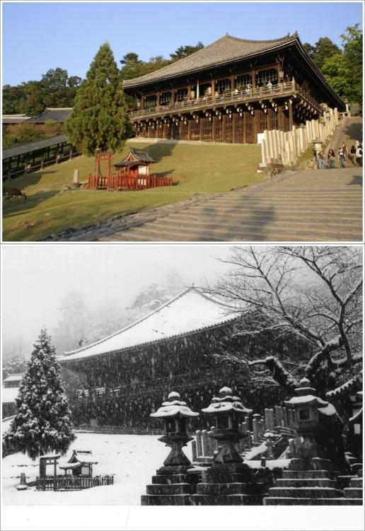 Nigatsudo Hall Saat Musim Panas (Atas) dan Musim Dingin (Bawah)