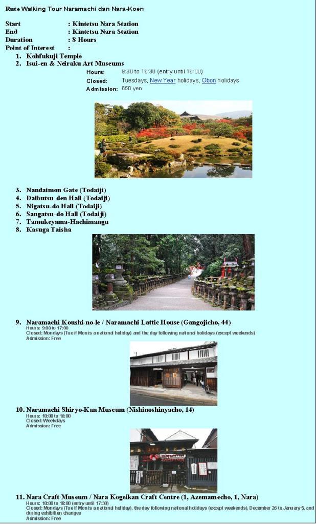 Rute Walking Tour Nara