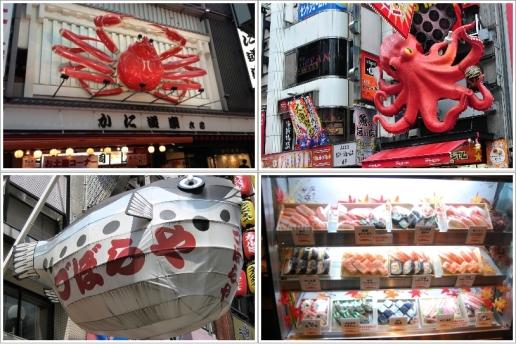 Kani Doraku Crab (Kiri Atas), Otakoya (Kanan Atas), Zuboraya (Kiri Bawah), Bento di Kani Doraku (Kanan Bawah)