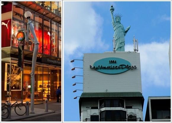 Patung Lampu yang unik (Kiri) dan Replika Patung Liberty (Kanan)