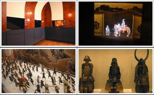 Diorama Karakuri Taiko-ki (Atas) dan beberapa koleksi Osaka Castle (Bawah)
