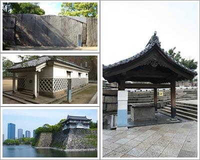 Kinmeisui Well (Kanan), Takoishi Stone (Kiri Atas), Kinzo Storehouse (Kiri Tengah) dan Ichiban Yagura Turet (Kiri Bawah)