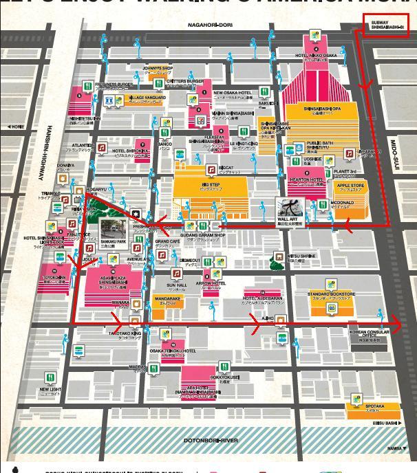 Garis Merah merupakan rute Walking Tour di Amerika Mura