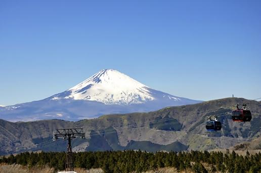 Gunung Fuji dari tempat parkir Owakudani Trail