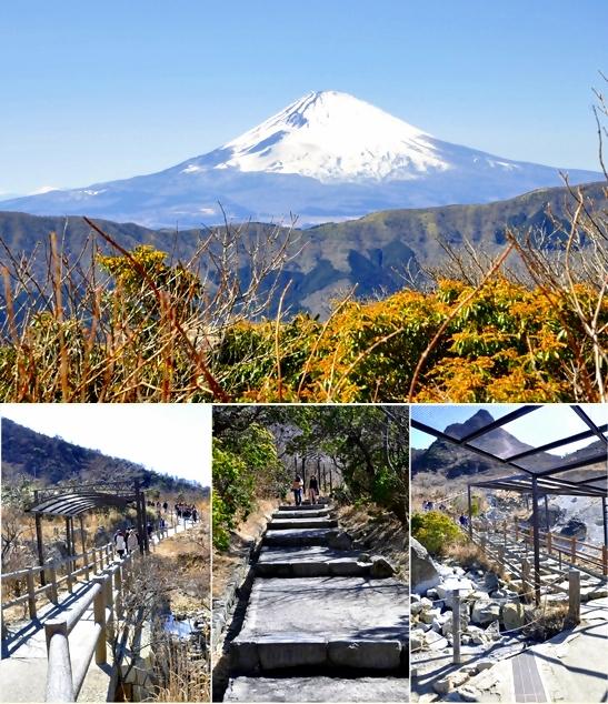 Jalur Owakudani Natural Trail dan pemandangan Fuji dari treknya