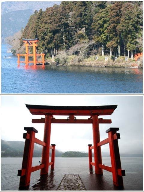 Torii Merah Di Tepi Lake Ashi (Photo By : traveljapanblog.com & koleksi pribadi)