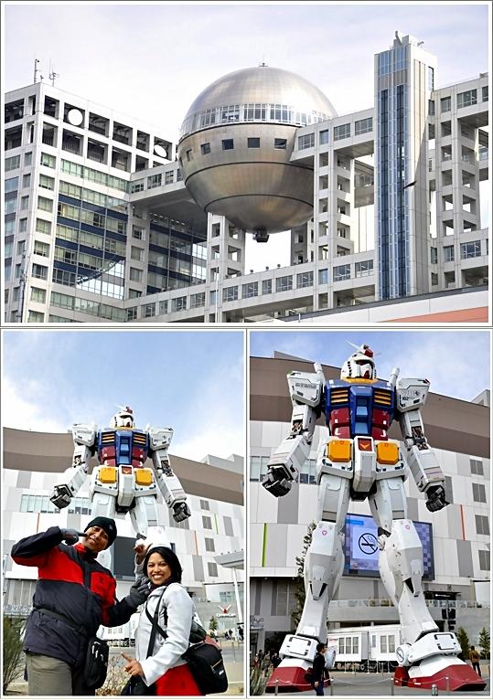 Fuji TV Building (atas), dan patung Gundam didepan DiverCity Mall (Bawah)