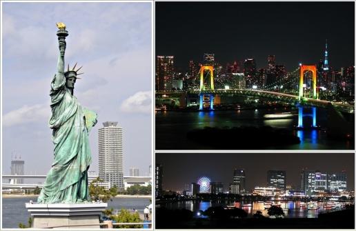 Patung Liberty dan Pemandangan Rainbow Bridge dan Tokyo Bay di waktu malam (Photo By : Wikipedia dan koleksi pribadi)