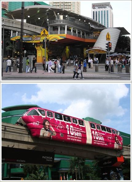 Stasiun Bukit Bintang (atas) dan kereta monorail (bawah)