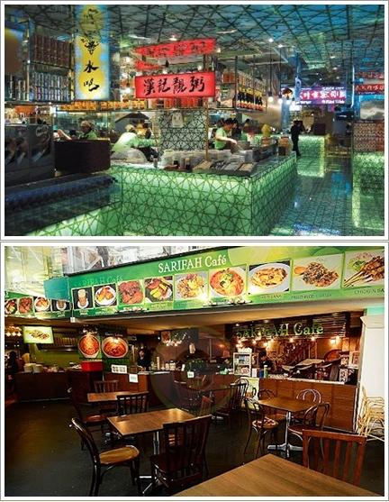 Stand di Lot 10 Hutong (atas)  dan Sarifah Cafe (bawah)