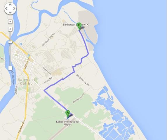 Peta Rute Mengemudi Dari Kalibo Airport ke Bakhawan Eco Park