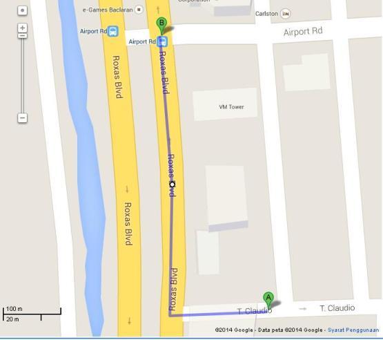 Peta Jalan Kaki dari Manila International Youth Hostel (A) ke Pangkalan Jeepney Menuju MOA (B)