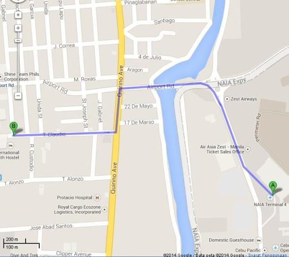 Rute Jalan Kaki dari NAIA Terminal 4 (A) ke Manila International Youth Hostel (B)