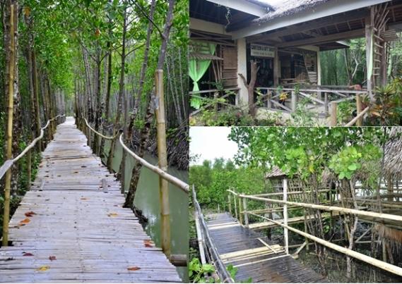 Boardwalk (Kiri), Kantin (Kanan Atas), Gubuk Istirahat (Kanan Bawah)