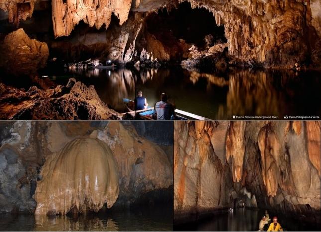 Beberapa bentuk stalaktit dan stalagmit dalam gua (foto koleksi pribadi dan website www.itsmorefuninthephilippines.com)