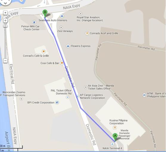 Peta jalan kaki dari NAIA terminal 4 ke tempat lintasan jepney menuju EDSA
